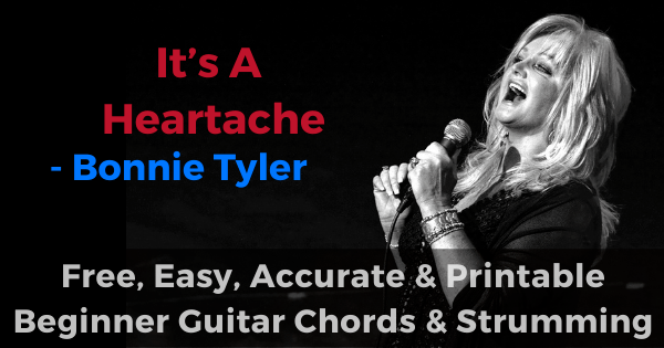 It's A Heartache-Bonnie Tyler free, easy, accurate and printable beginner guitar chords and strumming